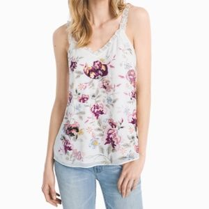 WHBM white floral embroidered ruffle V-neck cami